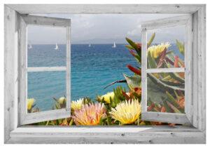 95x130 cm Openslaand wit venster: baai met zeilboten