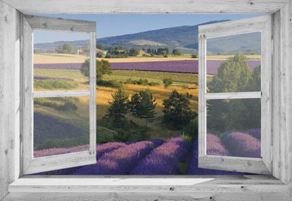 Openslaand wit venster: Lavendel