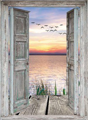 130x95 cm Openslaande deuren: zonsondergang