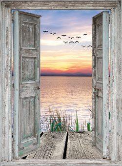 tuinposter openslaande deuren zonsondergang