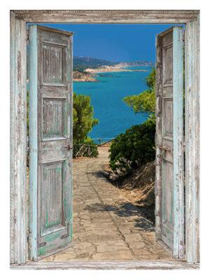 130x95 cm Openslaande deuren: pad naar zee