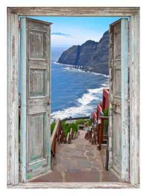 130x95 cm Openslaande deuren: trap naar zee