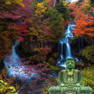 Tuinposter waterval met Boeddha 200x200 cm