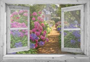 Openslaand wit venster: Hortensiatuin