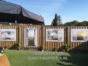 tuinposter set witte vensters en deur