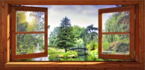 Openslaand raam met vijver 70x150 cm opgespannen om houten frame
