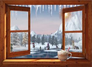 winter poster spelende pinguins - bruin venster