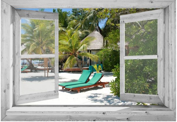95x130 cm Openslaand wit venster: Caribische ligstoelen