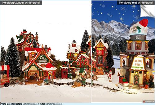 Kerstdorp met achtergrond