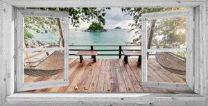 Buitencanvas om houten frame - 100x196 cm - Wit venster Vlonderterras