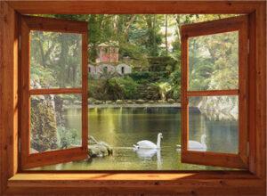 Buitencanvas om houten frame gespannen - 95x130 cm - bruin venster zwanen