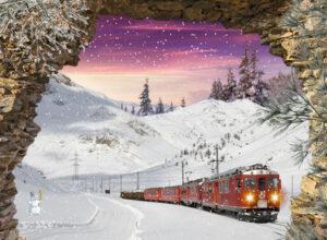 winter poster gat in rots - trein