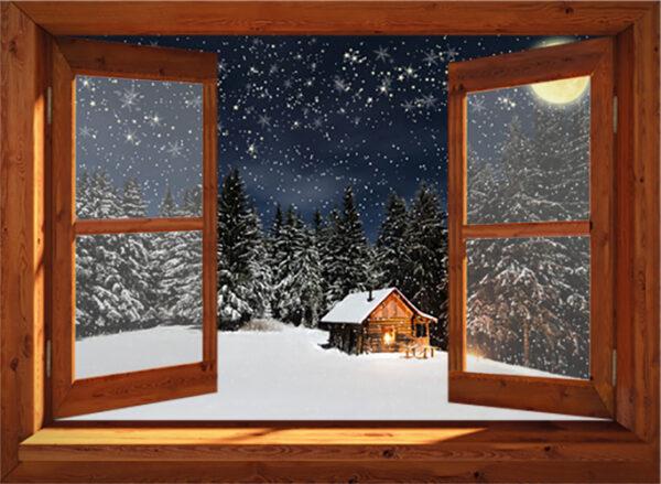 Winter poster - Blokhut in maanlicht