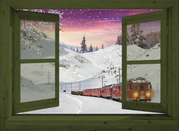winter poster groen venster Trein