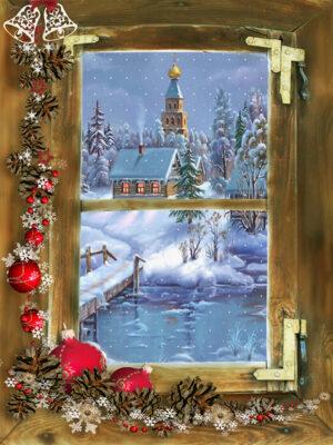 winter doorkijk sneeuw dorpje