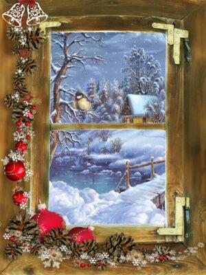 winter doorkijk sneeuw vogeltje