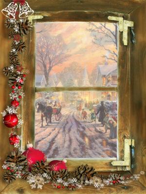 kerst poster Victorian street -m