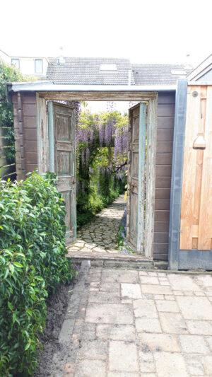 Tuinposter Openslaande deuren blauwe regen - vb 2 - 180x130 cm - afwerking ringen rondom