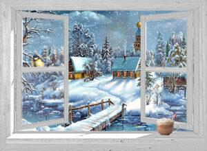 winter poster doorkijk wit venster dorpje