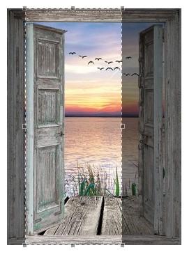Deurposter openslaande deuren zonsondergang - 198,5x81 cm