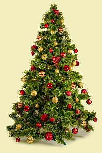 Kerstboom op doek met rode kerstballen