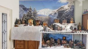 kerstdorp achtergrond winterlandschap
