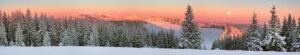 super panorama winterlandschap rode lucht