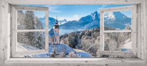 Binnen-canvas 45x100 cm - Wit venster winterlandschap kerkje - levering spoed