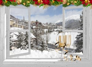 winter poster champagne in Zwitserland