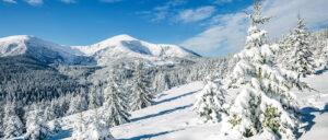 Sneeuwlandschap achter kerstdorp 58x138 cm - fotopapier
