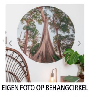 eigen foto op zelfklevende behangcirkel
