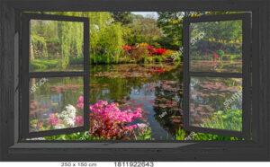 Tuinposter openslaand zwart venster 150x250 cm - 1811922643 - ringen om de 30 cm