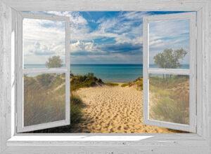 Openslaand wit venster: Duinen en zee