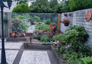 tuinposter bloementuin met stenen pad