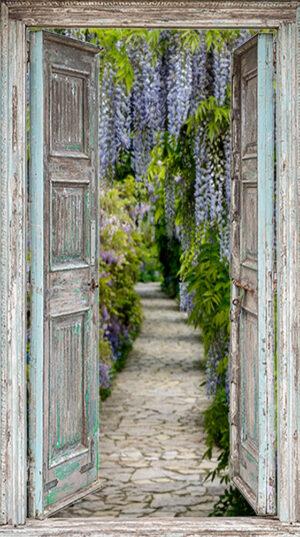 Tuinposter openslaande deuren met blauwe regen - vb 2 - 170x100 cm - 5 ringen zijkant - 3 ringen boven- en onderzijde - 12 RVS schroef+carosseriering