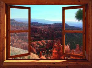tuinposter eigen foto in bruin venster 110x150 cm met ringen