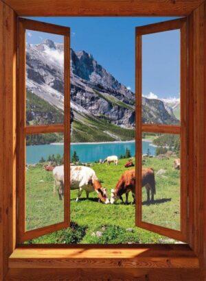 130x95 cm Openslaand bruin venster: koeien