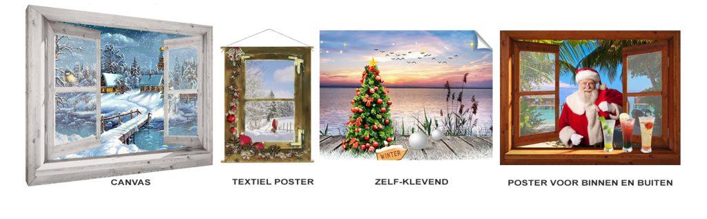 winter poster en kerstdorp achtergrond