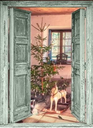 winter poster Open groene deuren - vintage kerst tafereel - speelgoed
