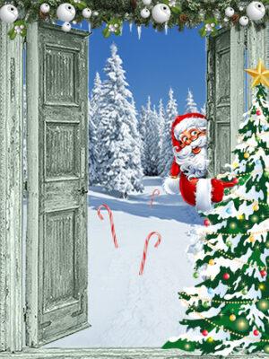 kerst poster openslaande groene deuren met kerstman en kerstboom