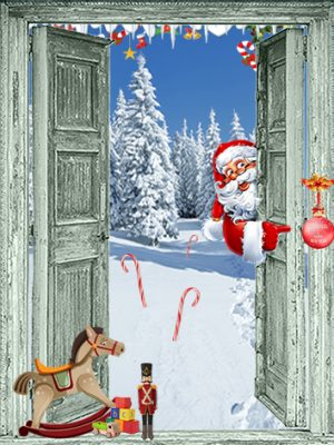 kerst poster openslaande groene deuren - kerstman - speelgoed