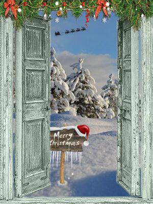 openslaande groene deuren - Merry Christmas