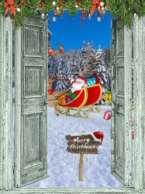Kerstposter Merry Christmas met slee en pakjes
