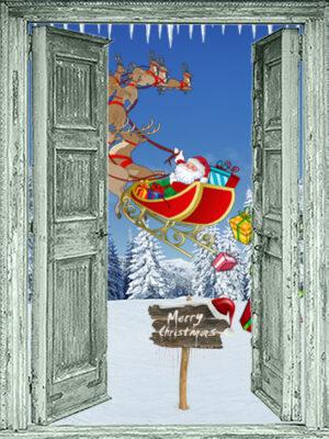 winter poster openslaande groene deuren met kerstslede