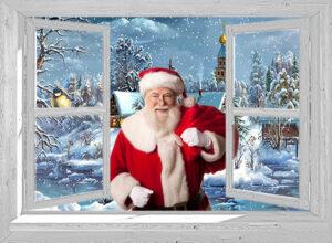 wit venster kerstman met dorp