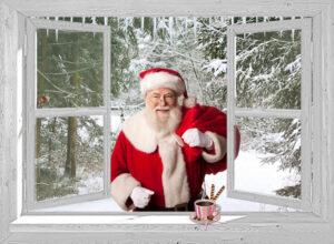 Open wit venster - winter - Kerstman