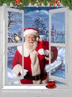 kerst poster doorkijk kerstman met dorpje