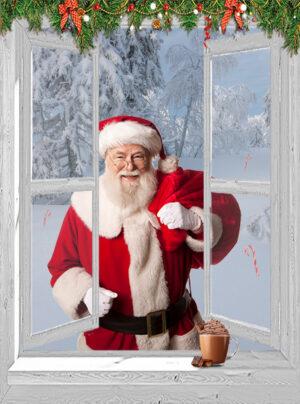 kerst poster openslaand venster Kerstman sneeuwlandschap