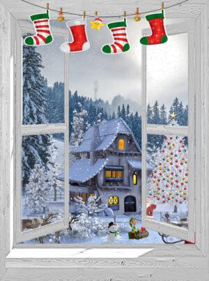 kerst poster openslaand venster Santa Village