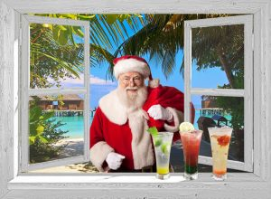 Open venster - winter - Tropische kerst